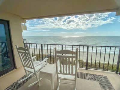 Photo for Ocean Drive. 3 bedroom, 3 bath oceanfront condo on 8th floor with elevator. Outdoor pool, kiddie pool. Charcoal grilling area.