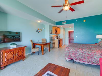 Photo for Oceanview studio w/ shared pool & hot tub, walk to beach! Perfect for couples!