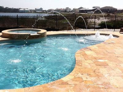Luxuay Heated Pool - Luxury heated pool with water features and traverting deck.