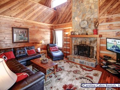 Photo for 2BR Pet Friendly Log Cabin in Boone, Wood Burning Fireplace, Ping Pong Table, Grill