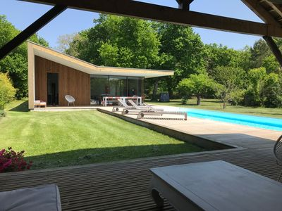 Photo for Modern villa 225m2 bassin Arcachon sleeps 14 pool 2 acre garden beach 1km