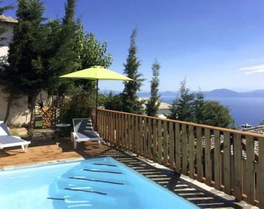 The pool of Villa Iris with magnificent sea views.