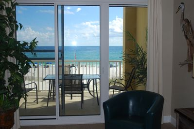 Beautiful view of the beach and gulf from inside the condo.