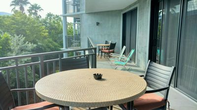 Large balcony with furniture