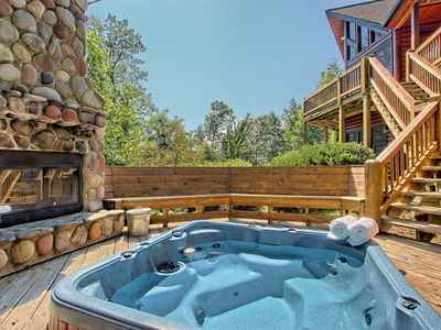Photo for Gorgeous mountain cabin near downtown Blue Ridge w/ hot tub, fireplace, & more!