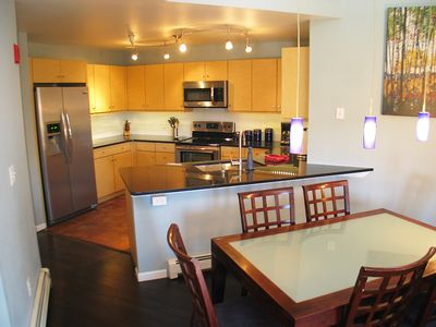 Recently remodeled kitchen with quartz countertops.