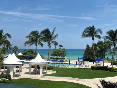 View of the Pool and Beach from the Balcony