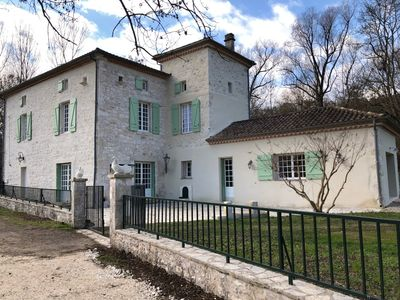 Photo for 18th mill with 7 bedrooms, swimming pool, spa and outdoor games in the countryside