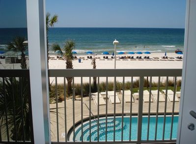 Swim in 2 large 175ft free forming heated pools This is the view from balcony!