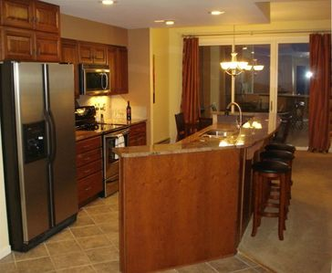 Kitchen,Casual Dining, and Deck overlooking Diamond Hill Slopes - so pretty