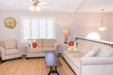 Comfortable seating in upstairs living room