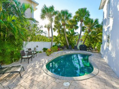 Photo for PERFECT LOCATION w/ PRIVATE HEATED POOL! 3 Beds/3Baths - Sleeps 10. Walk to Beach, Dining, Shops. Seconds from Everything. Pet Friendly. Family Friendly. Property Manager Included.