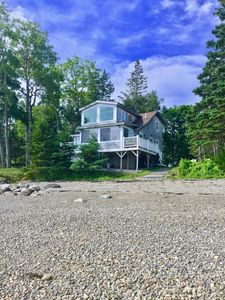 Front of cottage from beach at low tide