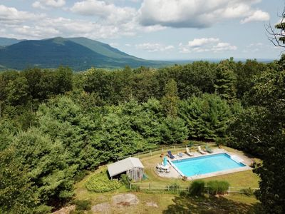 Photo for BOOKING SUMMER 2020 MOUNTAINTOP COTTAGE/POOL just 3 min from Woodstock village