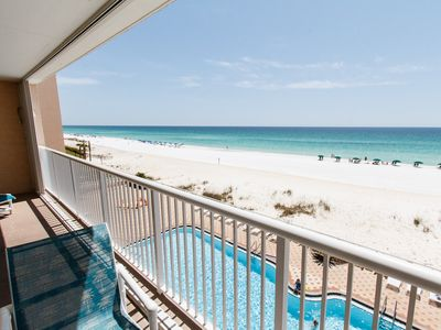 Balcony - A view of the gorgeous emerald waters and our 80ft swimming pool