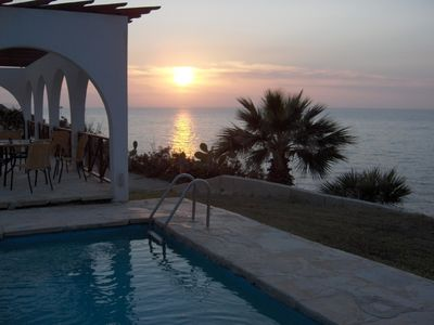 Photo for Panorama.Secluded, romantic villa right on the sea front, fantastic sunsets.