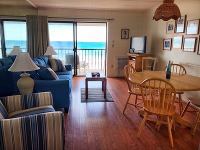 Traditional 1-bedroom oceanfront condo with free WiFi and stunning ocean view located uptown and just steps to the beach!