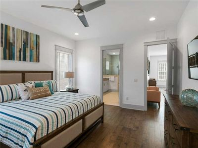 Master Bedroom on 1st Floor with King Bed and Flat Screen TV