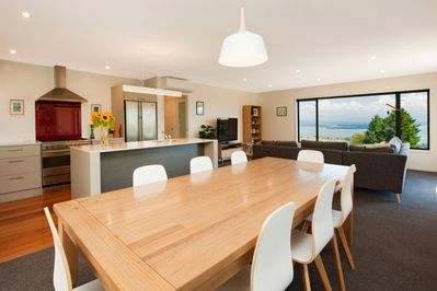 Open kitchen, dinning and living area