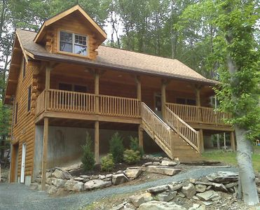 Photo for Contemporary Log Cabin : *2 Blocks* from Lake Wallenpaupack, Located in WLE