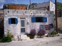 Peaceful setting, traditional Greek house in a small village in the mountains