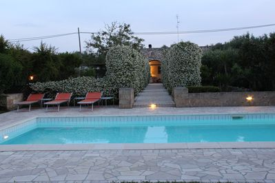 pool in at dusk