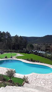 Photo for Spacious 4 bedroom villa with a large pool,flat garden - only 45 mins from Nice.
