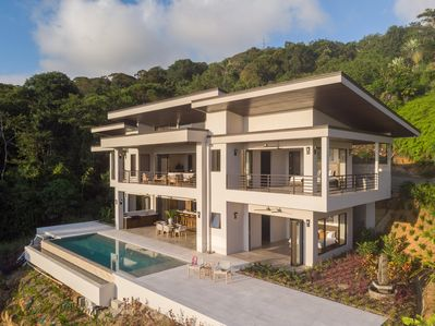 The villa sits majestically, high on a hilltop for exceptional privacy and views