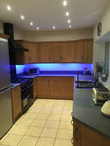 Newly refurbished modern kitchen with large range style cooker