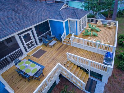 The premium Daufuskie Cottage! Here's a view of new multi-level back deck
