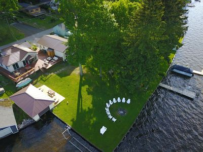 The Bunkalow: A Lakefront Compound with Lifts for your Speed Boat & Pontoon  Boat - Ludington