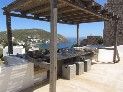 Photo for Patmos Beautiful holiday house overlooking the beautiful bay of Grikos.