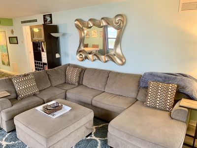 Large comfy sectional that can fit the whole family to watch TV or play games.