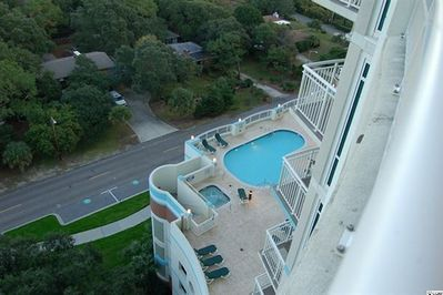 Balcony view to swimming pool and spa