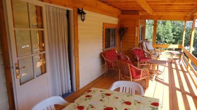 Photo for Wooden cottage for peaceful holidays with pool to share.