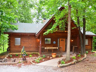 Photo for Great Location, Premium Log Cabin Vacation Experience, HotTub,Jet bathtubs, Firepit, Woods Ozark Preserve