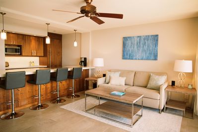 Comfortable living room with American Leather pull out sofa and 4 bar stools