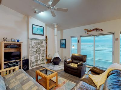 Photo for Oceanfront, dog-friendly home w/ jetted tub, beach access & sweeping views