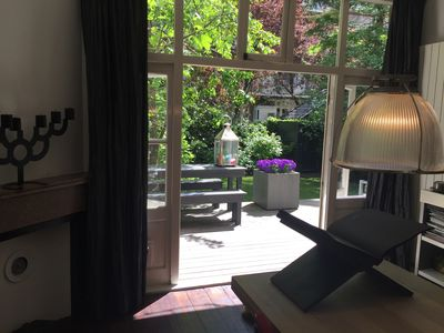 View of the garden as seen through the french doors in the dining area.