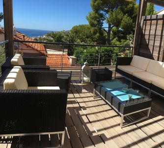 Photo for Spacious triplex sea view with terrace and garden at 10mns from the port and the beach