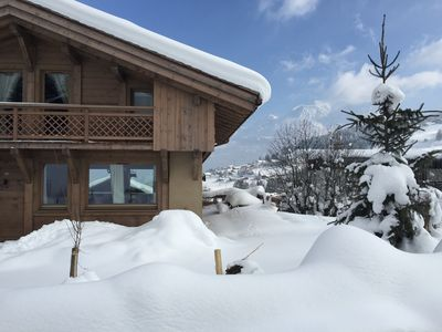 Photo for Superb chalet facing Mont Blanc