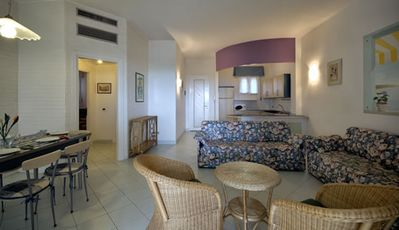 Photo for Three-room apartment in Residence with Sea View - Wi-Fi - Parking - Private Beach