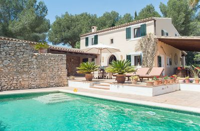 Photo for quiet rural location, great private pool, charming rustic furniture