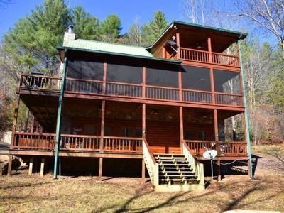 Photo for 4BR/3.5BA Cabin On The Toccoa River, Riverside Deck, Wood Burning Fireplace, Pool Table, Hot Tub, Ga