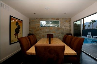 A custom dining table made from a real bowling alley lane!