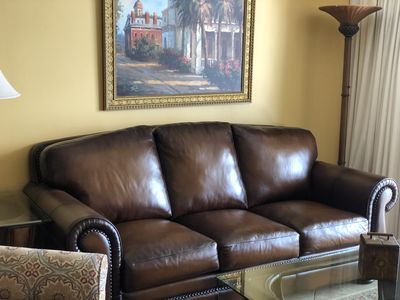 Leather sofa with queen pull out sleeper