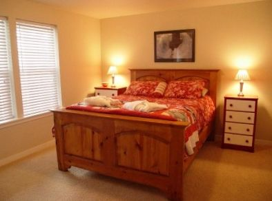 Warm, inviting bedroom with queen bed