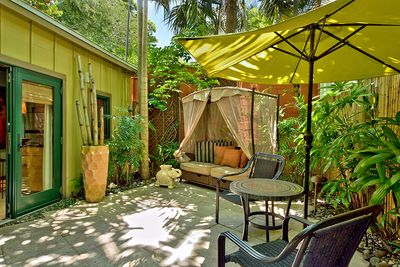 The studio opens to a private gated courtyard