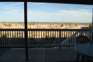 View of dunes and beach from deck