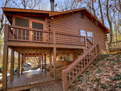 Photo for Laughing Hippo is a classic mountain cabin that sleeps 4 with a hot tub and